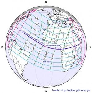 mapa del eclipse de noviembre de 2013
