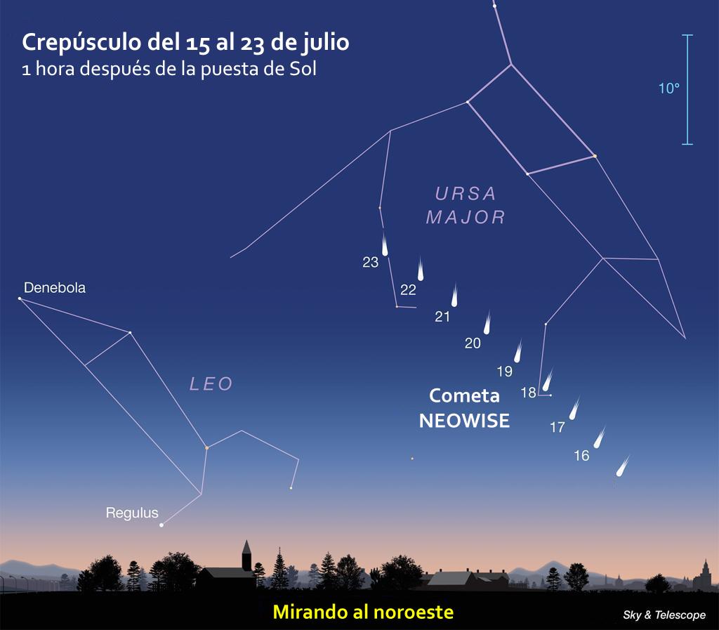 mapa para localizar el cometa NEOWISE